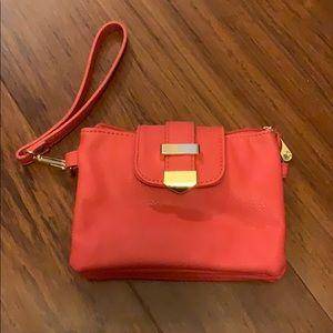 Coral wristlet purse